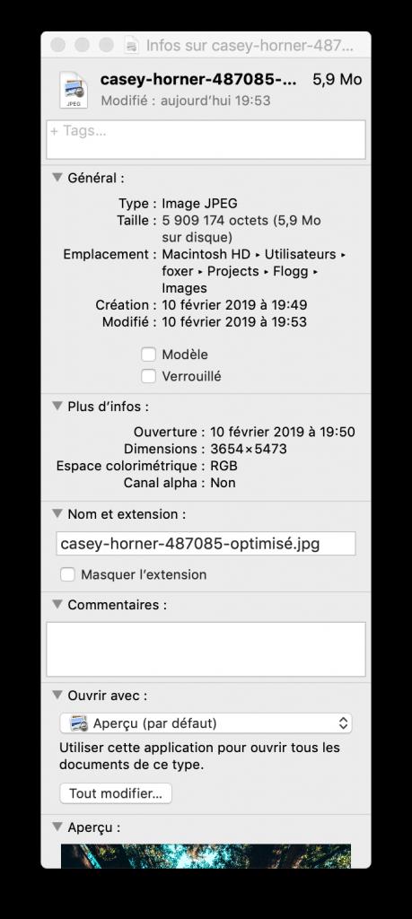 Optimiser les images sur macOs après