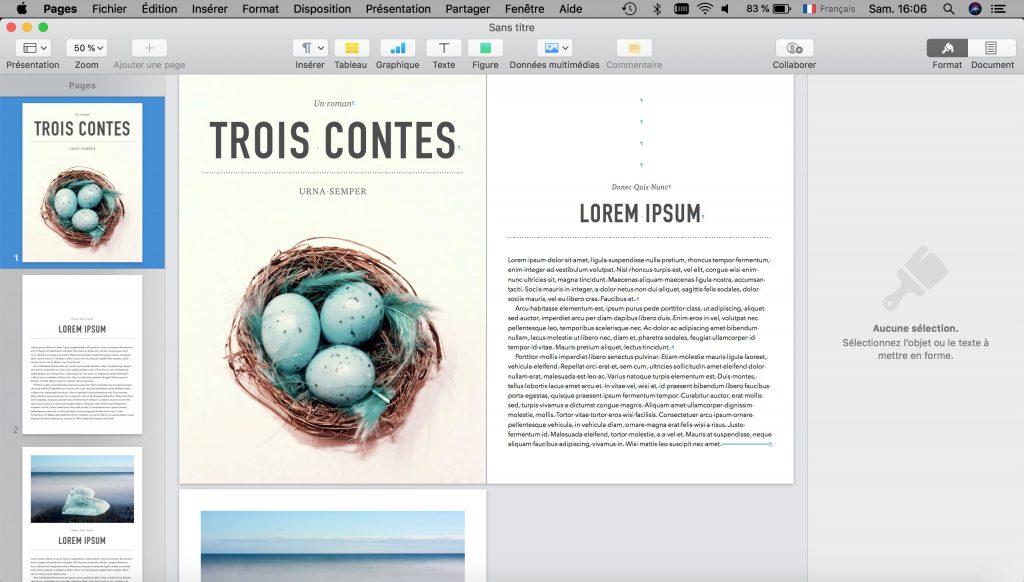 Créer un eBook sur Mac avec Apple Pages